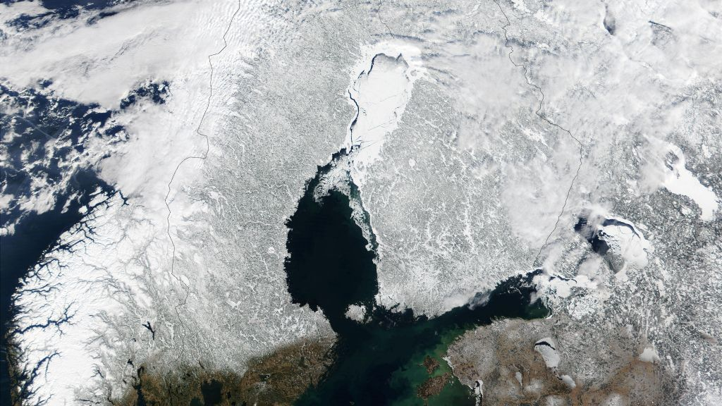 Satellite image of snow cover in Scandinavia
