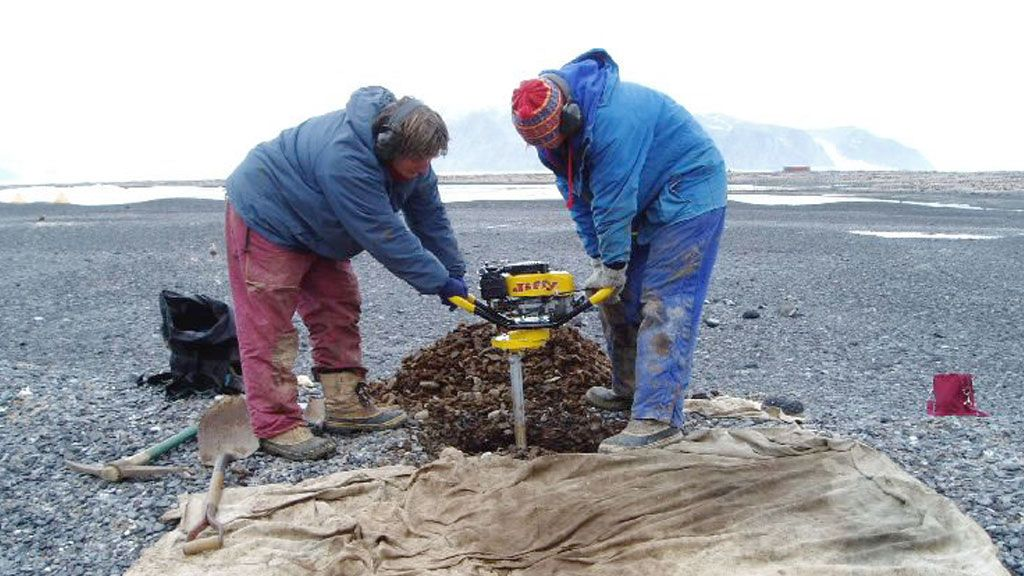 Drilling into the permafrost at Cape Hallett - © Antarctica New Zealand Pictorial Collection / Rachel Brown