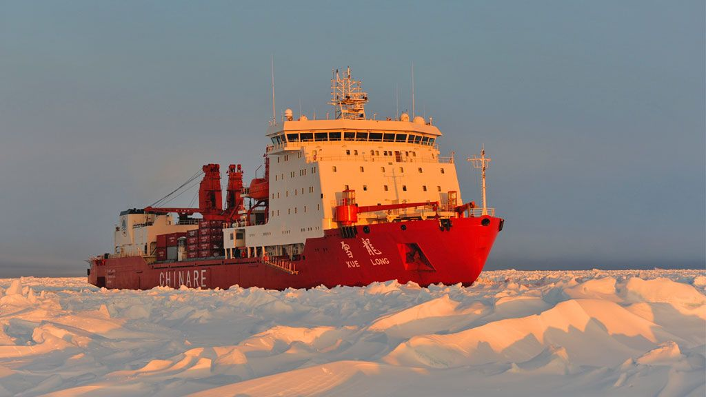 The Xue Long makes its way through sea ice