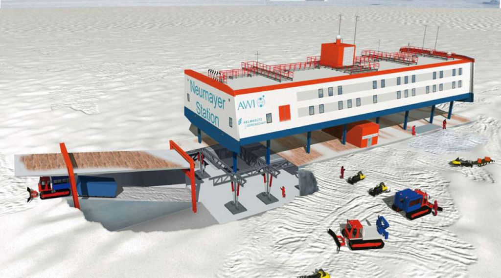 Bird's eye perspective of the new German Antarctic research station