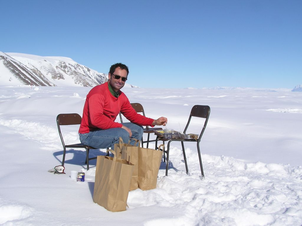 Florent Dominé having lunch in Antarctica while on mission to measure snow albedo - © Florent Dominé