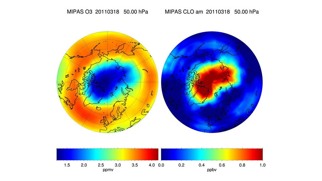 The Arctic ozone hole in March 2011 - © KARLSRUHE INSTITUTE OF TECHNOLOGY
