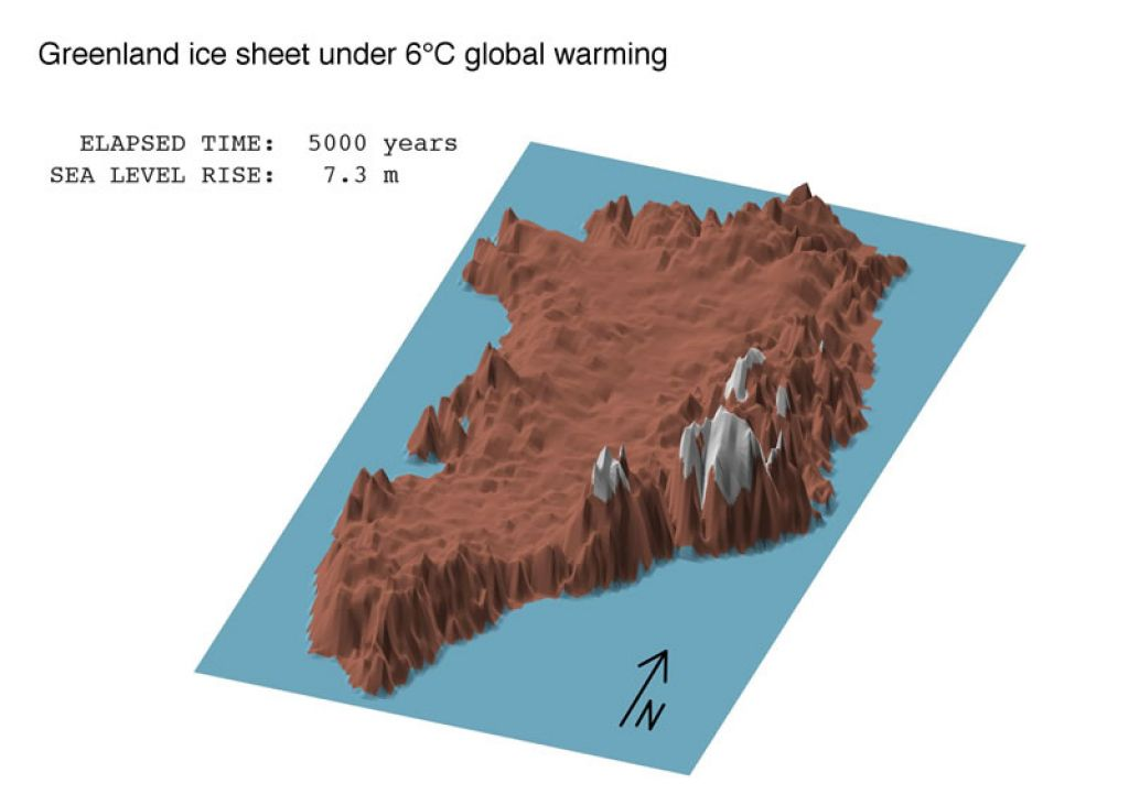 Projected Greenland melt under 6°C of warming after 5000 year - © ALEXANDER ROBINSON