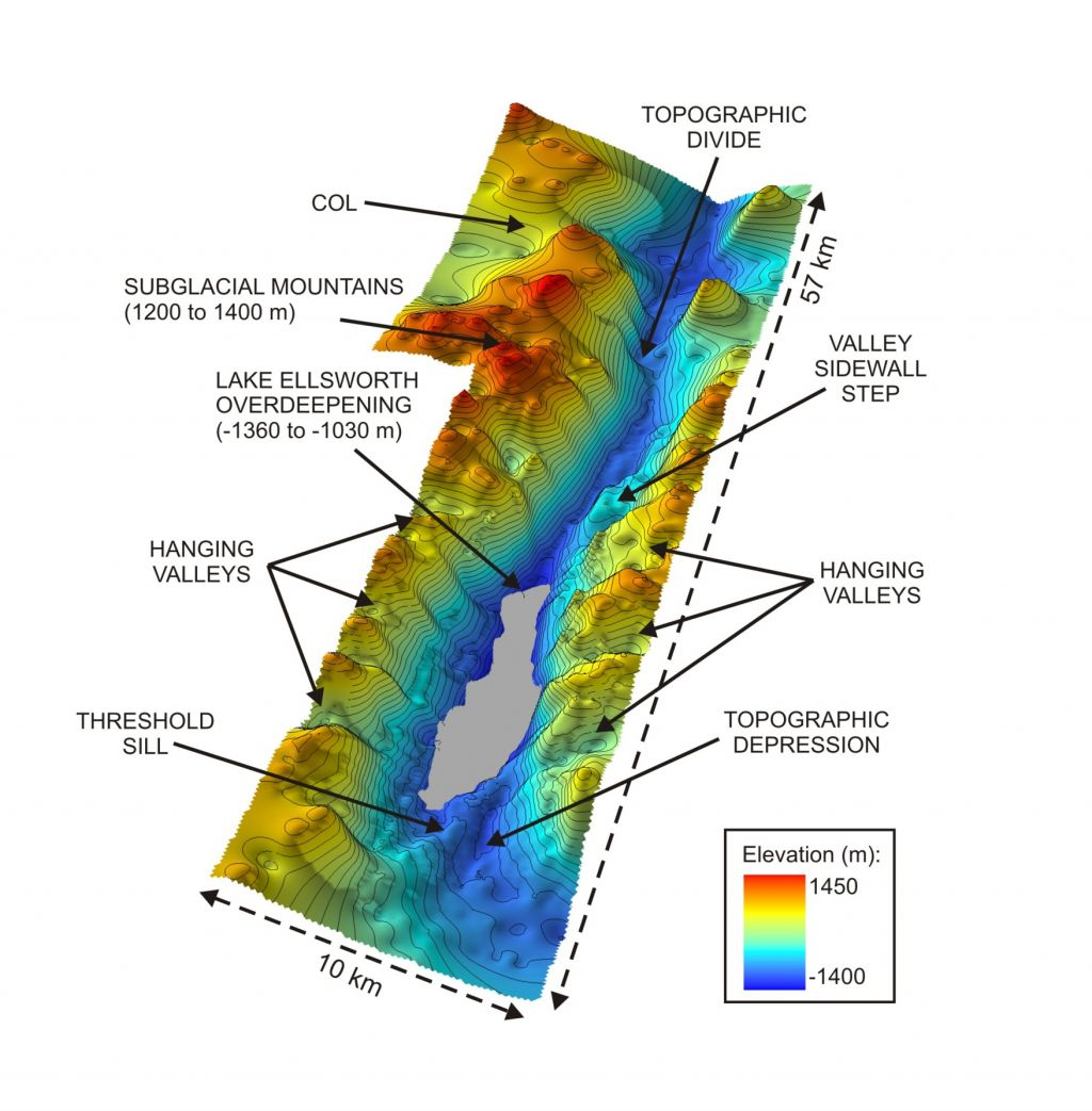 Subsurface topography in the region of Lake Ellsworth in West Antarctica - © Subglacial Lake Ellsworth Consortium