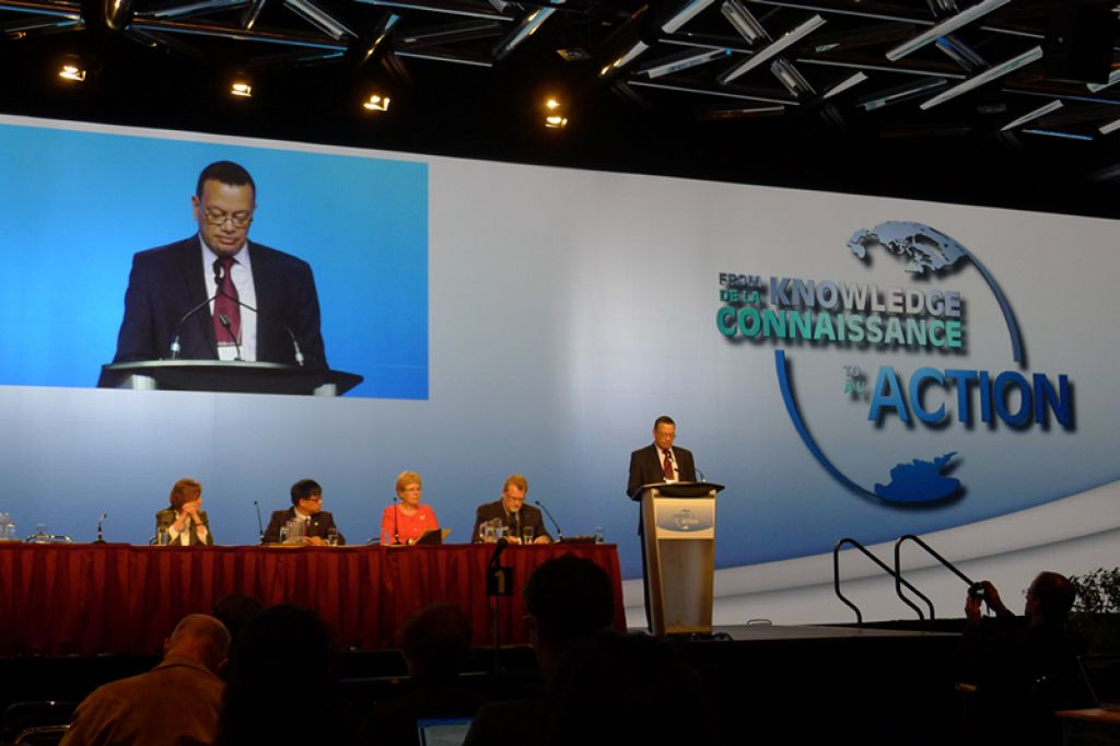 Ambassador Ronny Jumeau delivering his speech at the IPY conference in Montreal - © IPY 2012 Conference