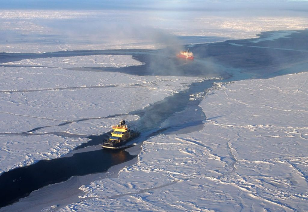 Swedish icebreaker Oden and USCGC Healy making their way through the Arctic pack ice - © MARTIN JAKOBSSON