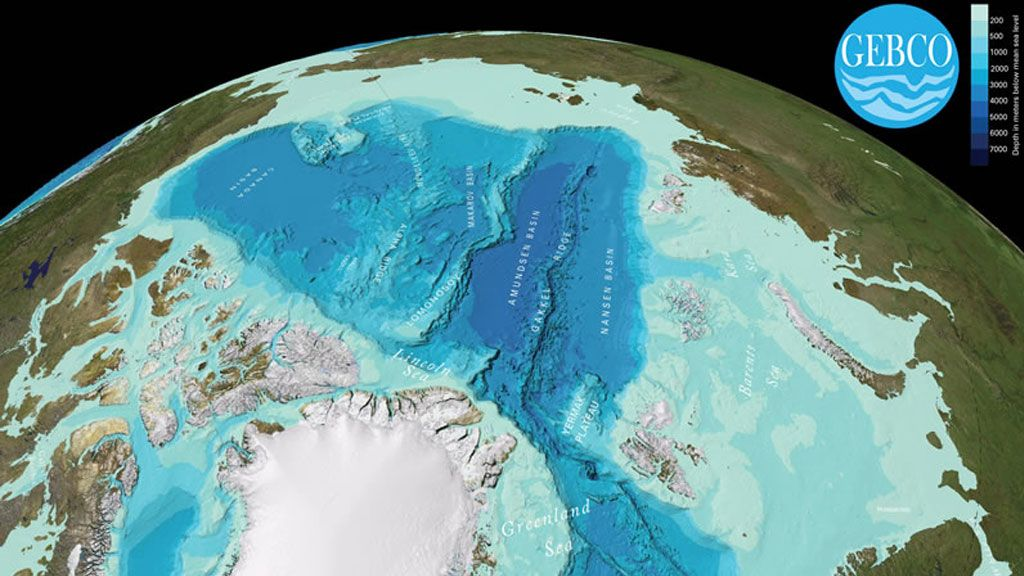 Bathymetric map of the Arctic
